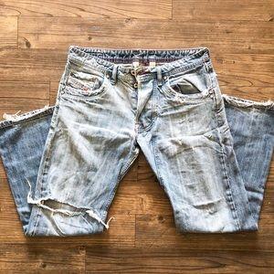 Men's Diesel Light Wash Distressed Denim Jeans